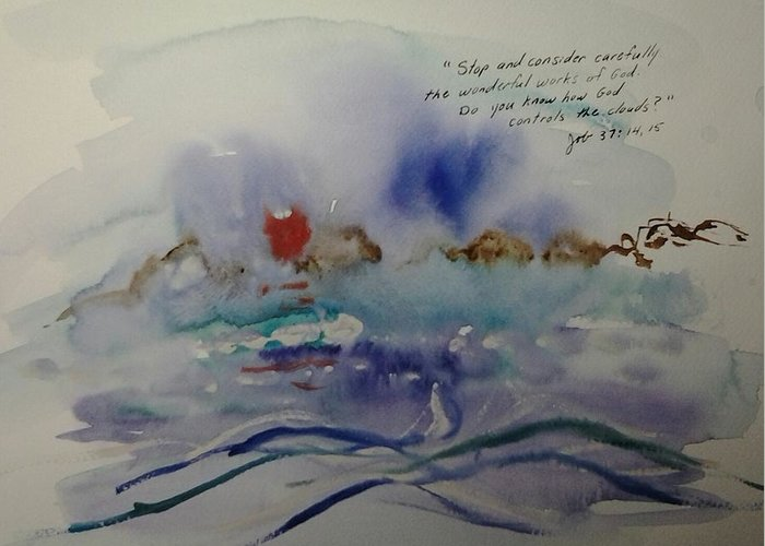 Watercolor Greeting Card featuring the painting The Wonderful Works of God by B L Qualls