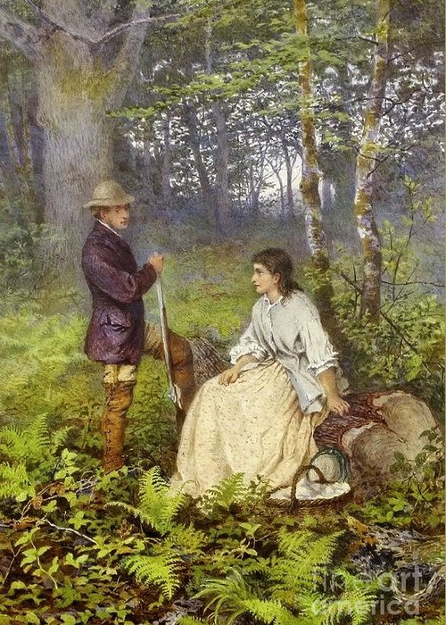Henry Towneley Green - The Woodland Encounter 1866 Greeting Card featuring the painting The Woodland Encounter by MotionAge Designs