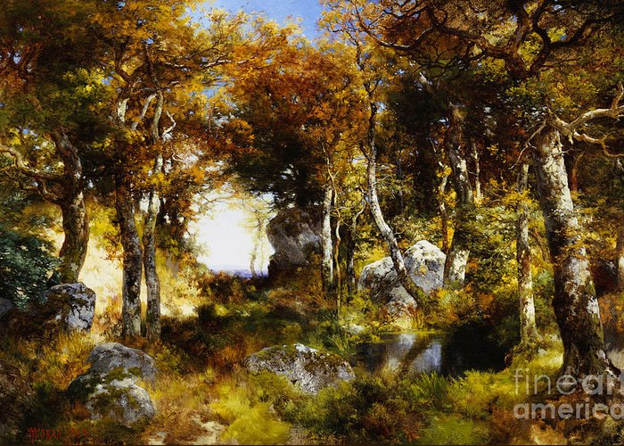 Greeting Card featuring the painting The Woodland Pool by Thomas Moran