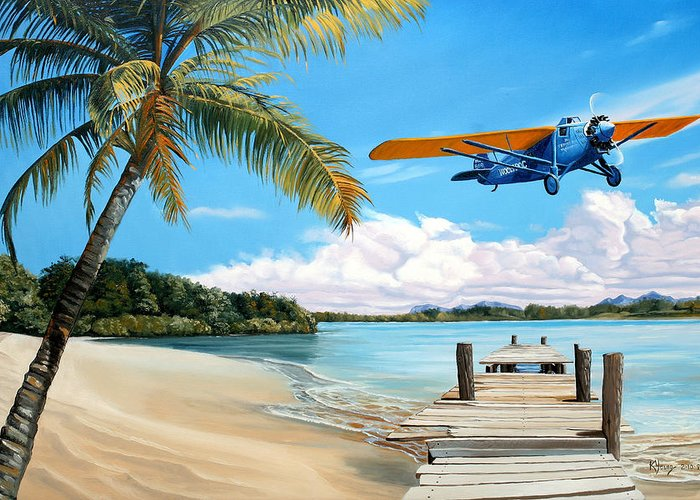 Aircraft Art Greeting Card featuring the painting The Woolaroc by Kenneth Young