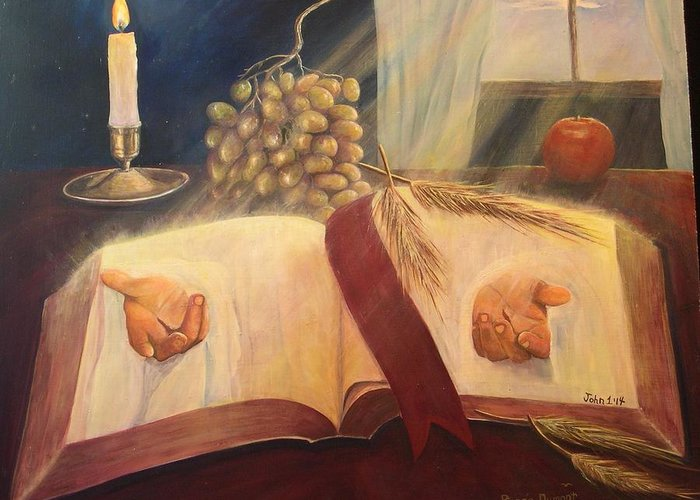 Contemporary Greeting Card featuring the painting The Word Made Flesh by Renee Dumont Museum Quality Oil Paintings Dumont