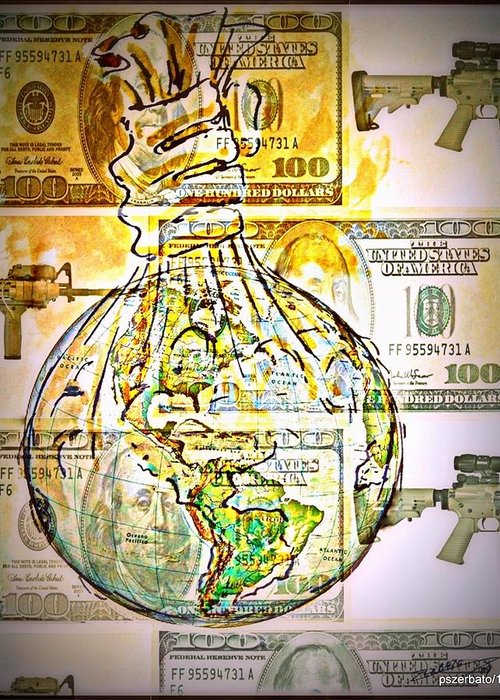 The World Is Money Greeting Card featuring the digital art The World Is Money by Paulo Zerbato