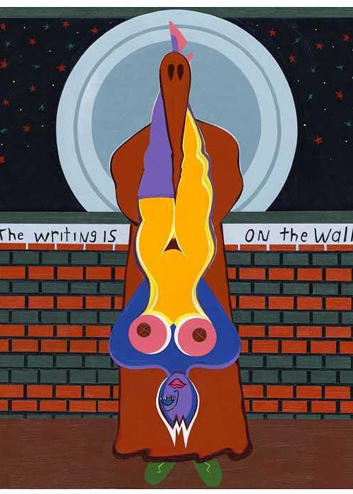 Pop Art Greeting Card featuring the painting The Writing Is On The Wall by Ruby Persson
