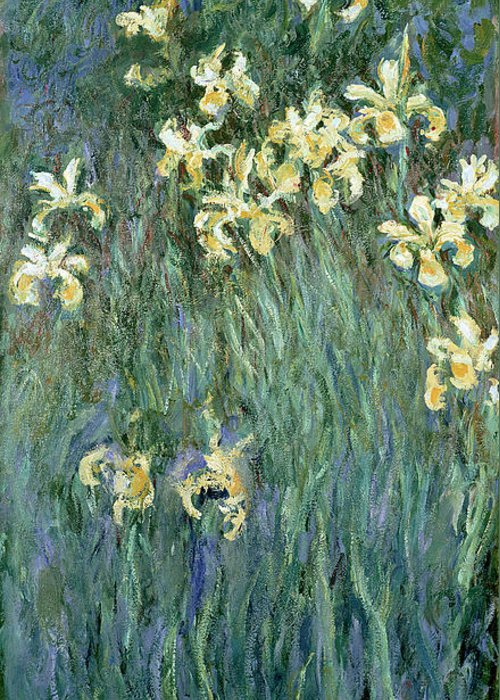 The Greeting Card featuring the painting The Yellow Irises by Claude Monet