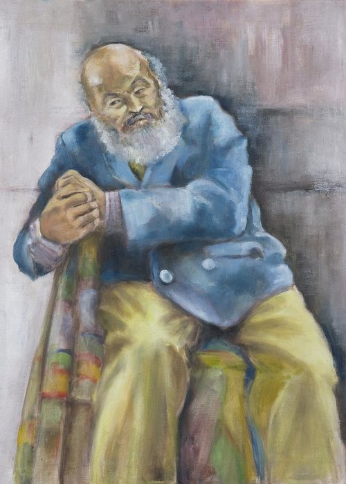 Portrait Greeting Card featuring the painting The Yellow Pants by Victoria Shea