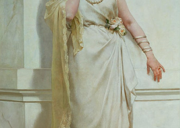 The Greeting Card featuring the painting The Young Bride by Alcide Theophile Robaudi