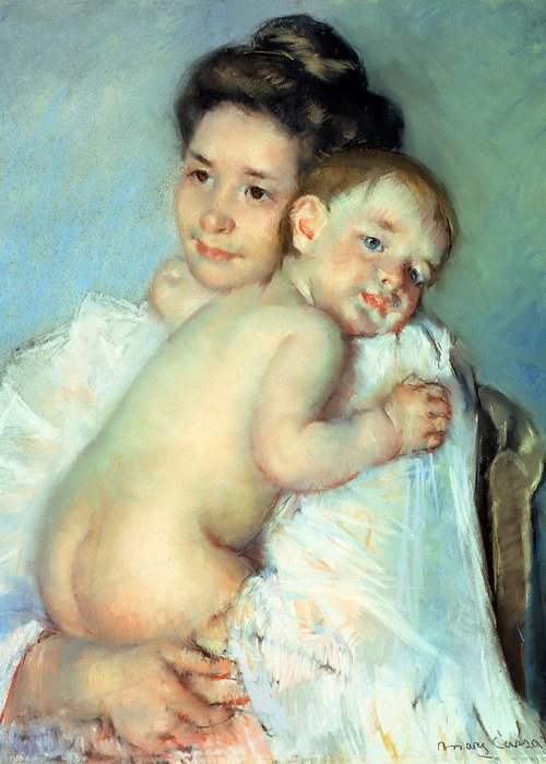 The Greeting Card featuring the painting The Young Mother by Mary Stevenson Cassatt
