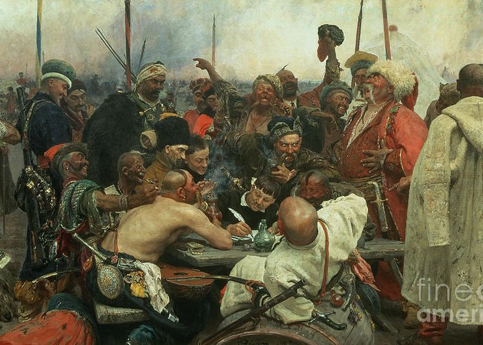 The Greeting Card featuring the painting The Zaporozhye Cossacks Writing A Letter To The Turkish Sultan by Ilya Efimovich Repin