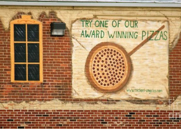 Buildings Greeting Card featuring the photograph Their Pizza Is A Work Of Art by Judy Carr