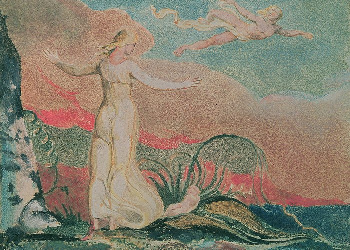 The Greeting Card featuring the painting Thel In The Vale Of Har by William Blake