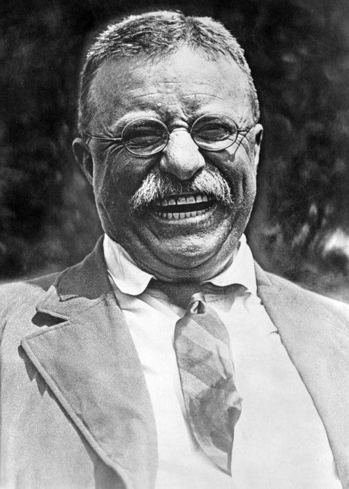 theodore Roosevelt Greeting Card featuring the photograph Theodore Roosevelt Laughing by International Images