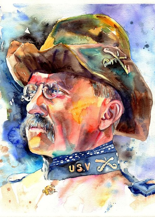 Theodore Roosevelt Greeting Card featuring the painting Theodore Roosevelt Painting by Suzann Sines
