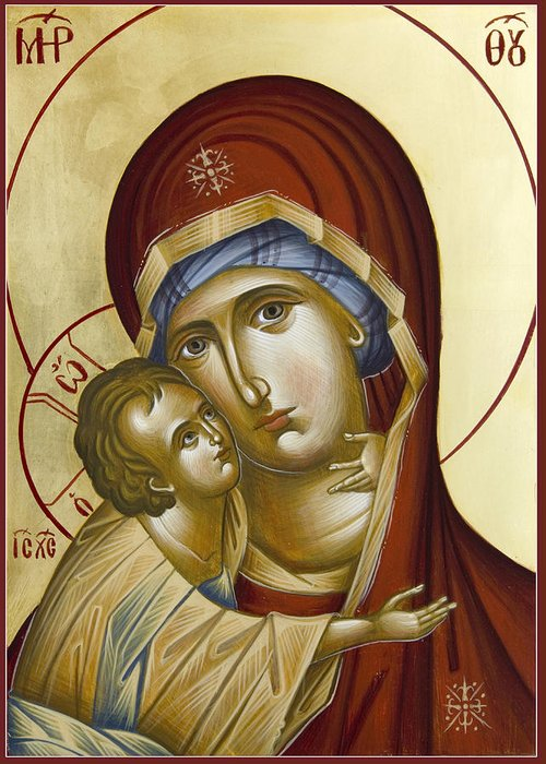 Icon Greeting Card featuring the painting Theotokos by Julia Bridget Hayes