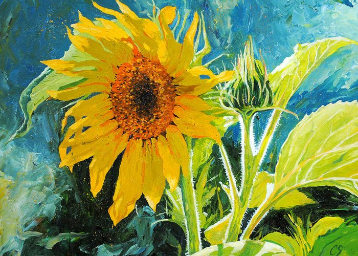 Sunflower Greeting Card featuring the painting There's A New Bud In Town by Chris Steinken