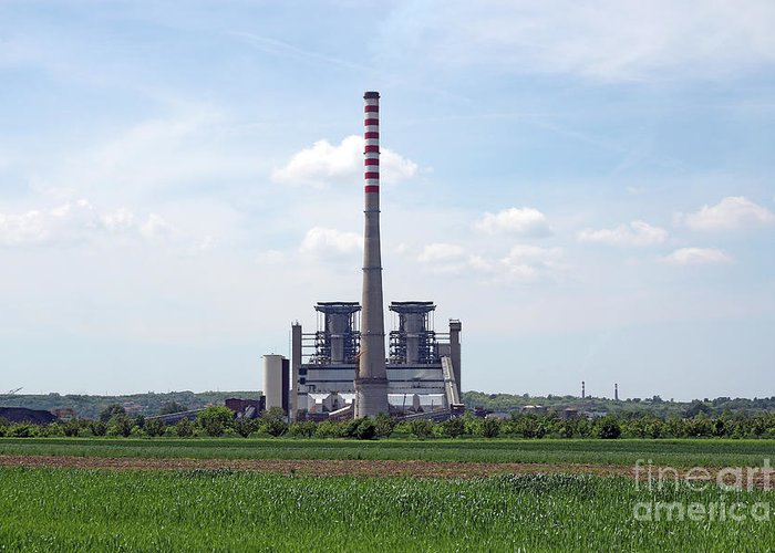 Plant Greeting Card featuring the photograph Thermal Power Plant On Green Wheat Field Industry by Goce Risteski