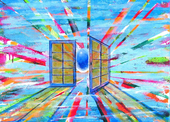 Spirt Greeting Card featuring the painting These Open Doors by Rollin Kocsis