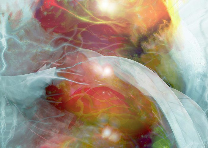 Theta Brain Waves Greeting Card featuring the digital art Theta Brain Waves by Linda Sannuti