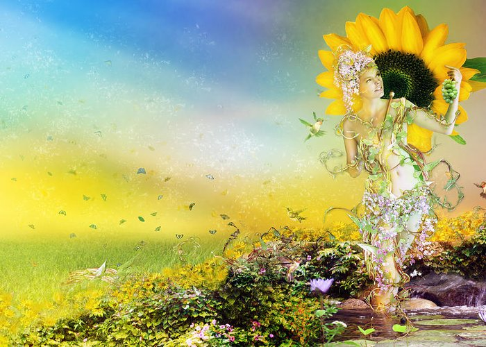 Sunflower Greeting Card featuring the digital art They Call Me Summer by Mary Hood
