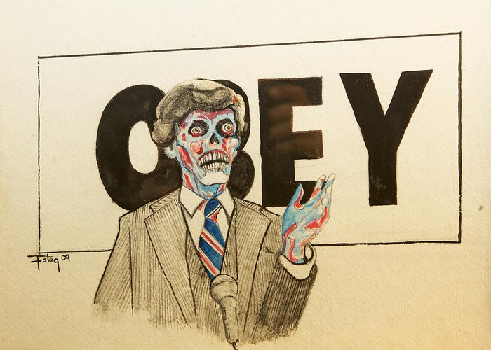 John Carpenter Movie Art Obey Shepard Fairey Watercolor Skeleton Halloween Greeting Card featuring the painting They Live by Christopher Chouinard