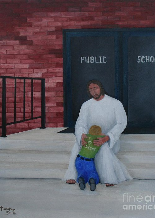Religion Greeting Card featuring the painting They Won't Let Me In Either. by Timothy Smith