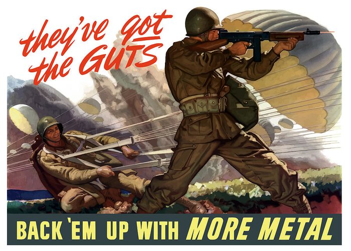 Airborne Greeting Card featuring the painting They've Got The Guts by War Is Hell Store