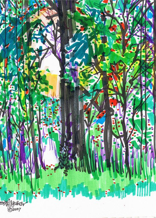 Forest Greeting Card featuring the drawing Thicket by Seth Weaver