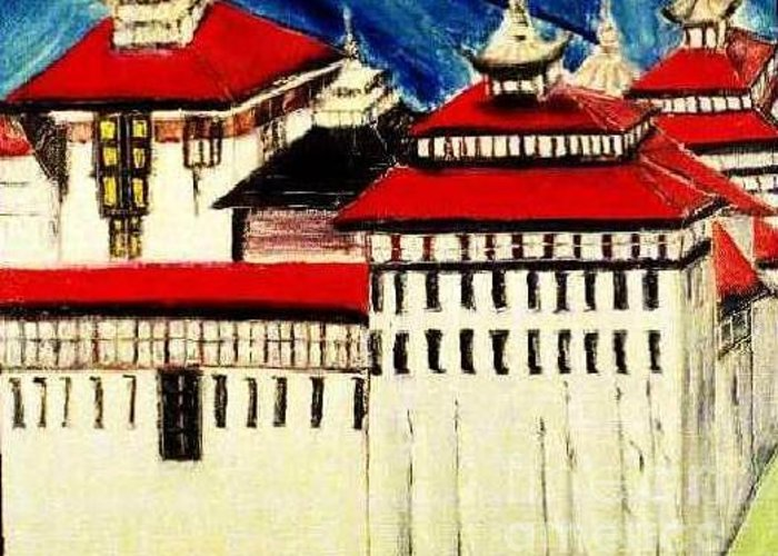 Goverment  Greeting Card featuring the painting Thimpu Dzong2 by Duygu Kivanc