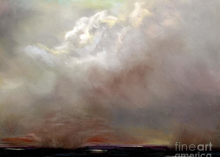 Cloud Painting Greeting Card featuring the painting Things Are About To Change by Frances Marino
