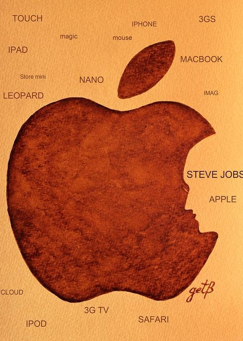 Steve Jobs Tribut Paintings Greeting Card featuring the painting Think Different Steve Jobs 2 by Georgeta Blanaru