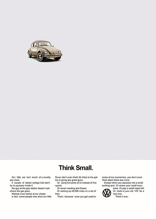 Volkswagen Beetle Greeting Card featuring the photograph Think Small by Mark Rogan