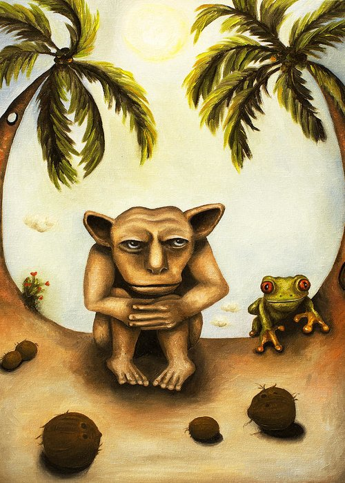 Gargoyle Greeting Card featuring the painting Thinking About Coconuts by Leah Saulnier The Painting Maniac