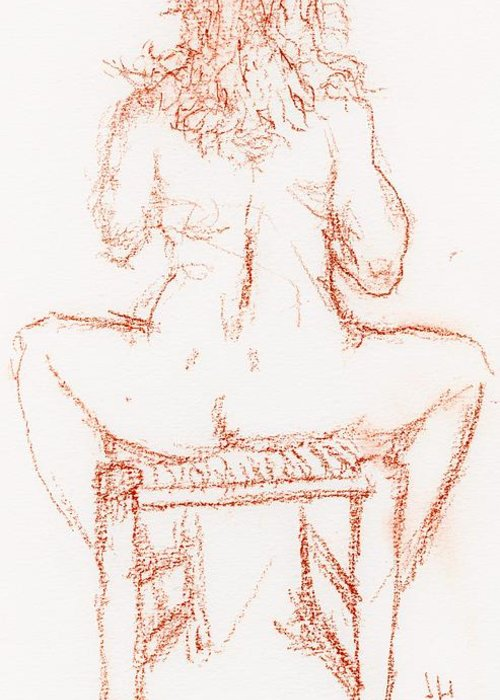 Drawings Greeting Card featuring the drawing Thinking Back by Jerry Hanks