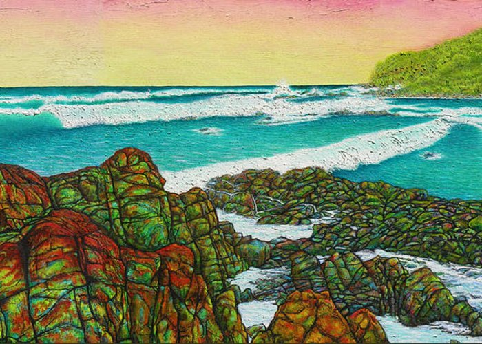 Seascape Greeting Card featuring the painting Third Bay Coolum Beach Triptych by Joe Michelli