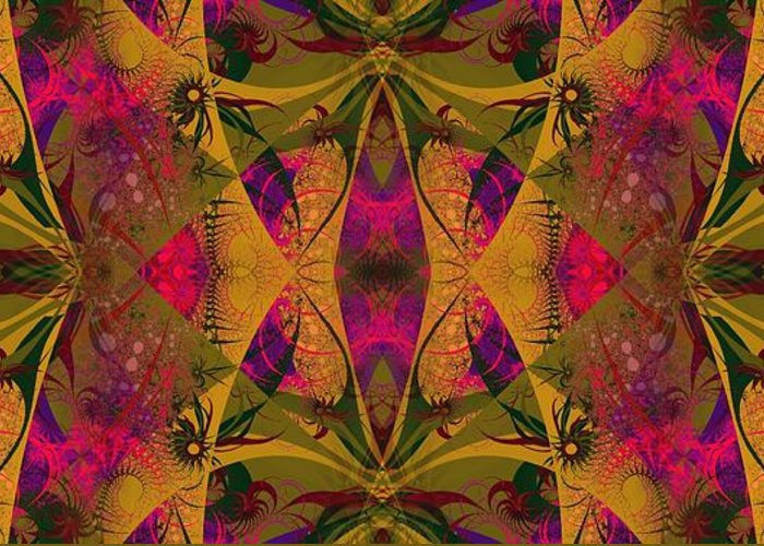 Fractal Greeting Card featuring the digital art Third Eye Jungle 1 by Devalyn Marshall