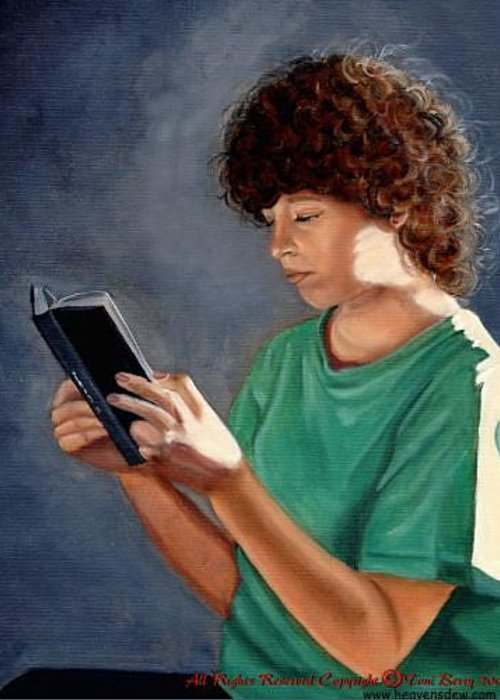Portrait Greeting Card featuring the painting Thirst For Knowledge by Toni Berry