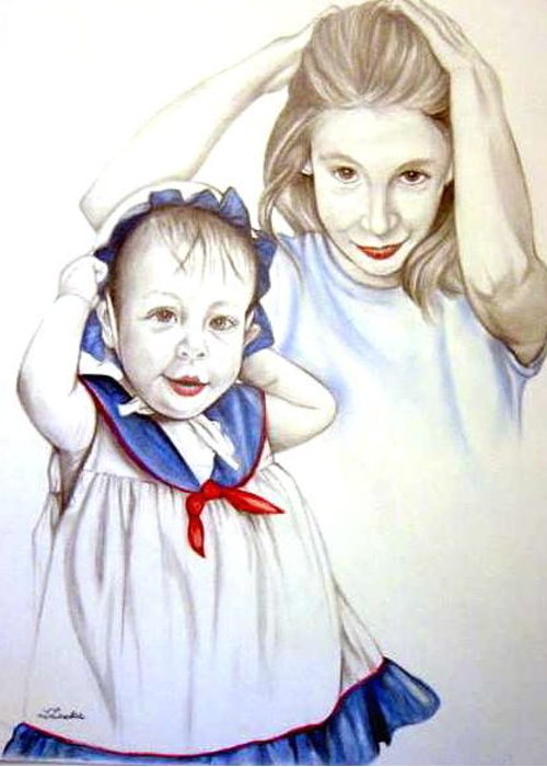 Portrait Commission Greeting Card featuring the drawing Thirteen Months Thirteen Years by L Lauter
