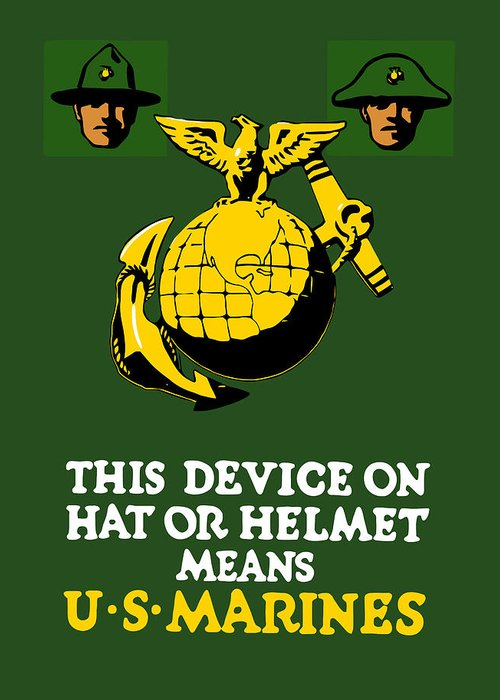Marines Greeting Card featuring the painting This Device Means Us Marines by War Is Hell Store