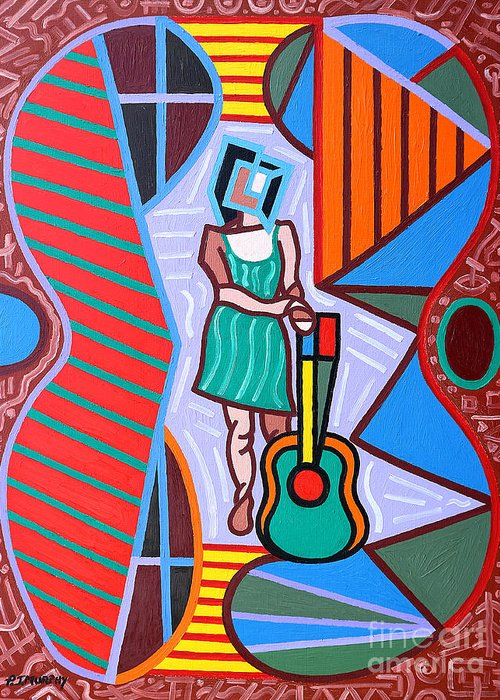 Music Greeting Card featuring the painting This Guitar Is More Than An Instrument by Patrick J Murphy