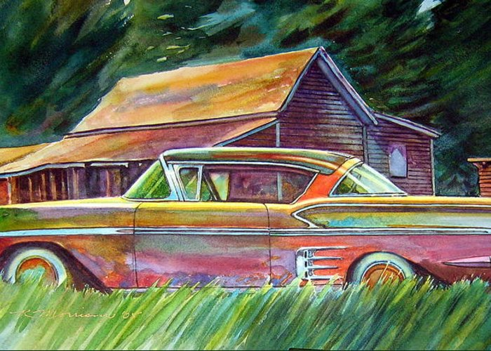 Rusty Car Chev Impala Greeting Card featuring the painting This Impala Doesn by Ron Morrison