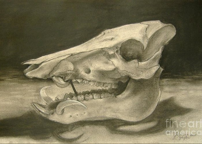 Pig Skull Greeting Card featuring the drawing This Little Piggy by Julianna Ziegler