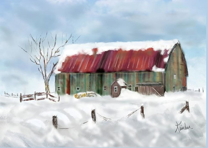 Winter Greeting Card featuring the digital art This Old Barn by Kimber Wallwork-Heineman