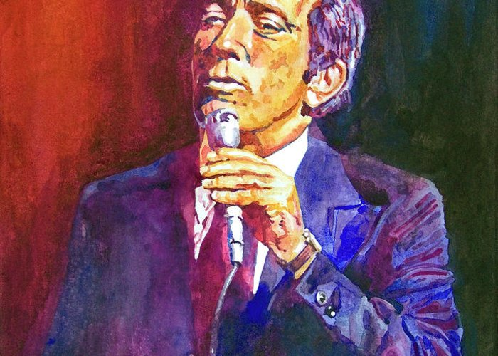 Andy Williams Greeting Card featuring the painting This Song Is For You - Andy Williams by David Lloyd Glover
