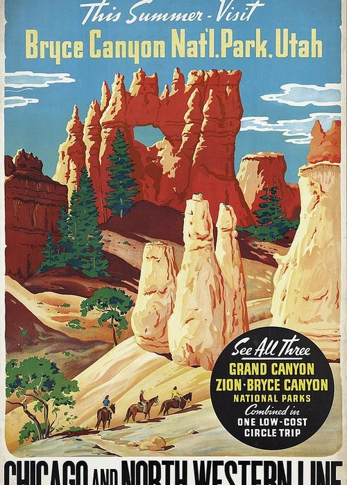 Bryce Canyon Greeting Card featuring the mixed media This Summer - Visit Bryce Canyon National Par, Utah, Usa - Retro Travel Poster - Vintage Poster by Studio Grafiikka