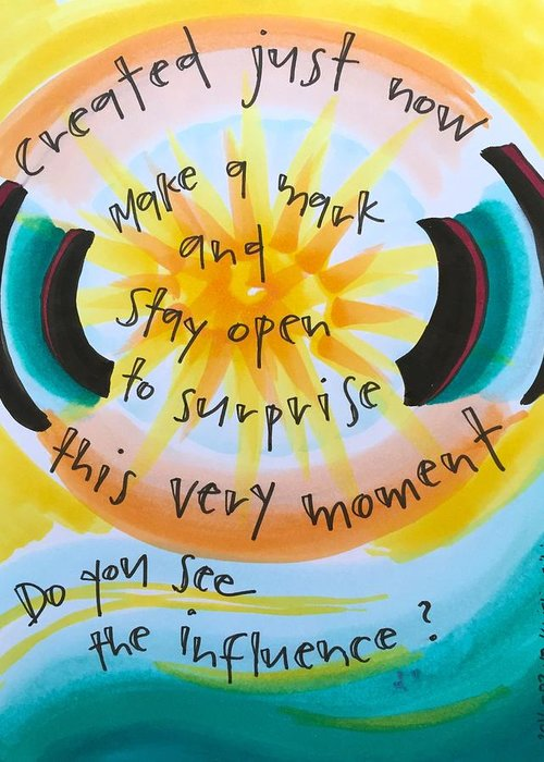 Creativity Greeting Card featuring the painting This Very Moment by Vonda Drees
