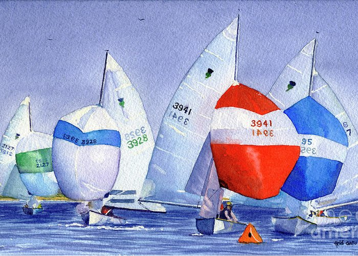 Thistle Sailboat Race Greeting Card