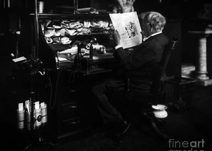 Thomas Edison Greeting Card featuring the photograph Thomas Edison Reading by Sad Hill - Bizarre Los Angeles Archive