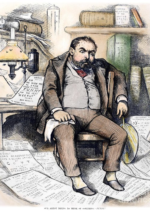 1879 Greeting Card featuring the photograph Thomas Nast (1840-1902) by Granger