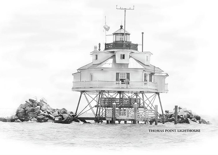 Thomas Point Lighthouse Greeting Card featuring the drawing Thomas Point Lighthouse by Laurie Williams