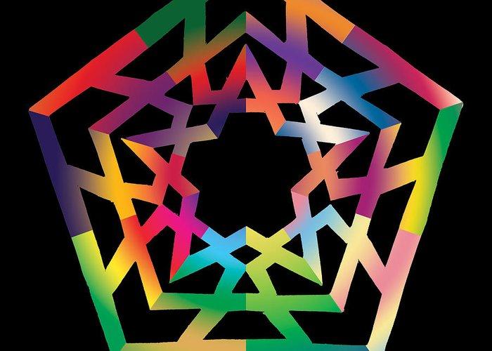 Pentacle Greeting Card featuring the digital art Thoreau Star by Eric Edelman