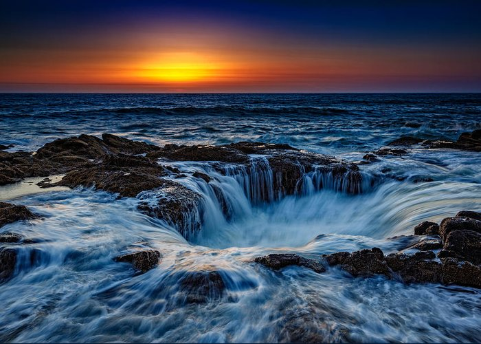 Oregon Greeting Card featuring the photograph Thor's Well by Rick Berk